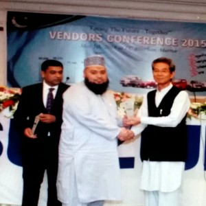 Mr. Muhammad Naeem (C.E.O of Fatima Industry Pvt. Ltd.), receiving the annual award at the occasionof 'Annual Vendors Conference', held in 2015.